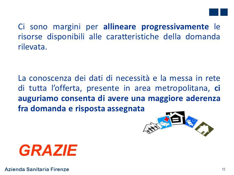 Azienda Sanitaria Firenze 12 Ci sono margini per allineare progressivamente le risorse disponibili alle caratteristiche della domanda rilevata. La con