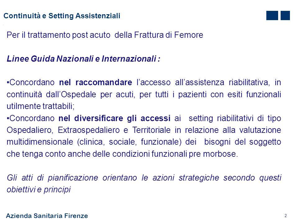 Azienda Sanitaria Firenze 2 Continuità e Setting Assistenziali Per il trattamento post acuto della Frattura di Femore Linee Guida Nazionali e Internaz