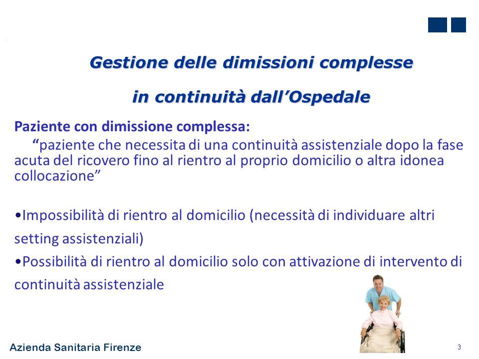Azienda Sanitaria Firenze 3 Gestione delle dimissioni complesse in continuità dallOspedale Paziente con dimissione complessa: paziente che necessita d