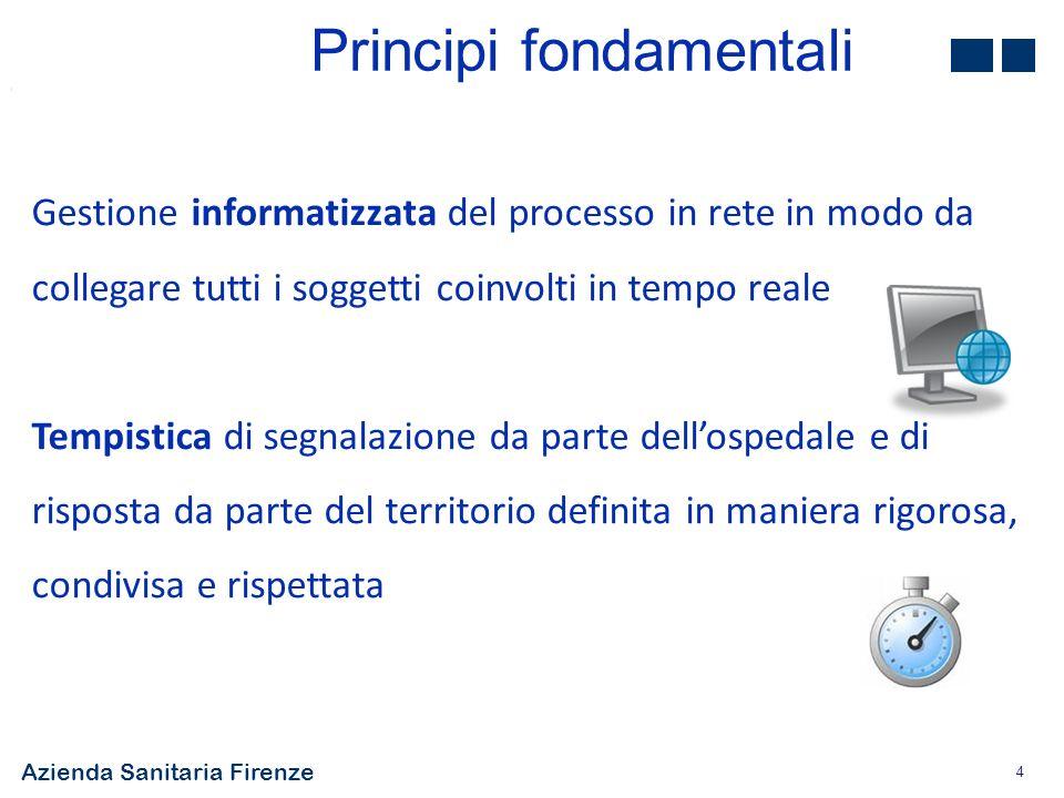 Azienda Sanitaria Firenze 4 Gestione informatizzata del processo in rete in modo da collegare tutti i soggetti coinvolti in tempo reale Tempistica di