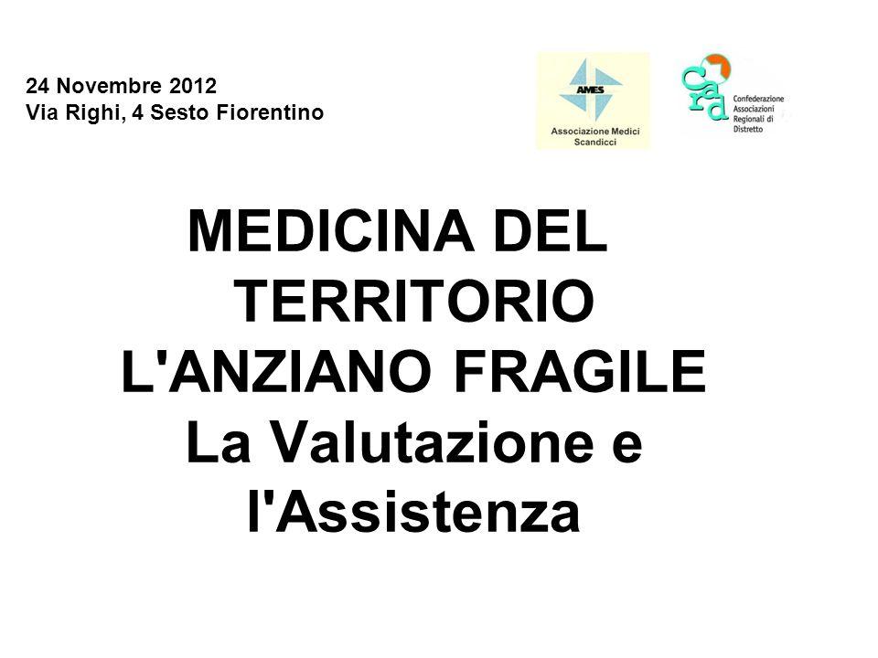 24 Novembre 2012 Via Righi, 4 Sesto Fiorentino MEDICINA DEL TERRITORIO L'ANZIANO FRAGILE La Valutazione e l'Assistenza