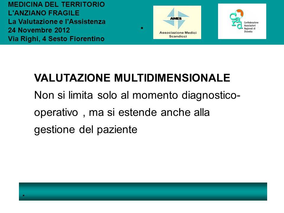 .. MEDICINA DEL TERRITORIO L'ANZIANO FRAGILE La Valutazione e l'Assistenza 24 Novembre 2012 Via Righi, 4 Sesto Fiorentino VALUTAZIONE MULTIDIMENSIONAL