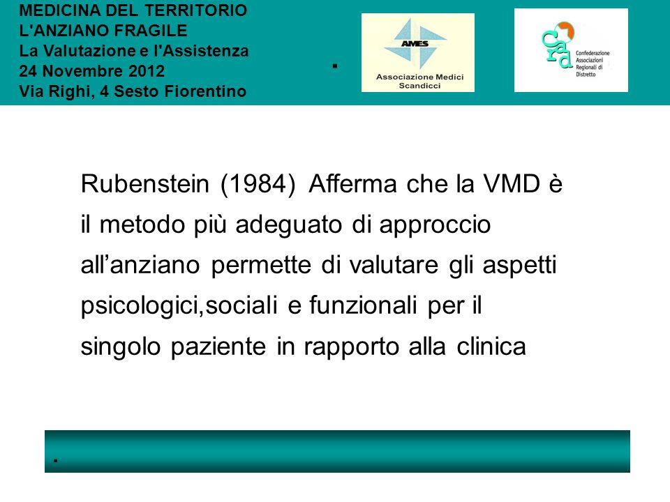 .. MEDICINA DEL TERRITORIO L'ANZIANO FRAGILE La Valutazione e l'Assistenza 24 Novembre 2012 Via Righi, 4 Sesto Fiorentino Rubenstein (1984) Afferma ch