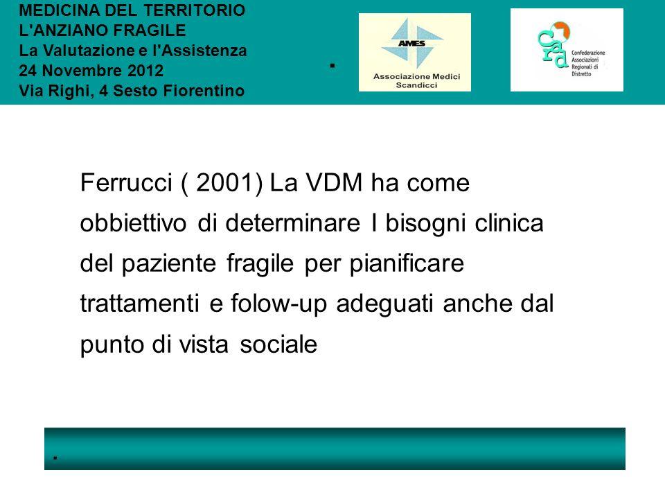 .. MEDICINA DEL TERRITORIO L'ANZIANO FRAGILE La Valutazione e l'Assistenza 24 Novembre 2012 Via Righi, 4 Sesto Fiorentino Ferrucci ( 2001) La VDM ha c