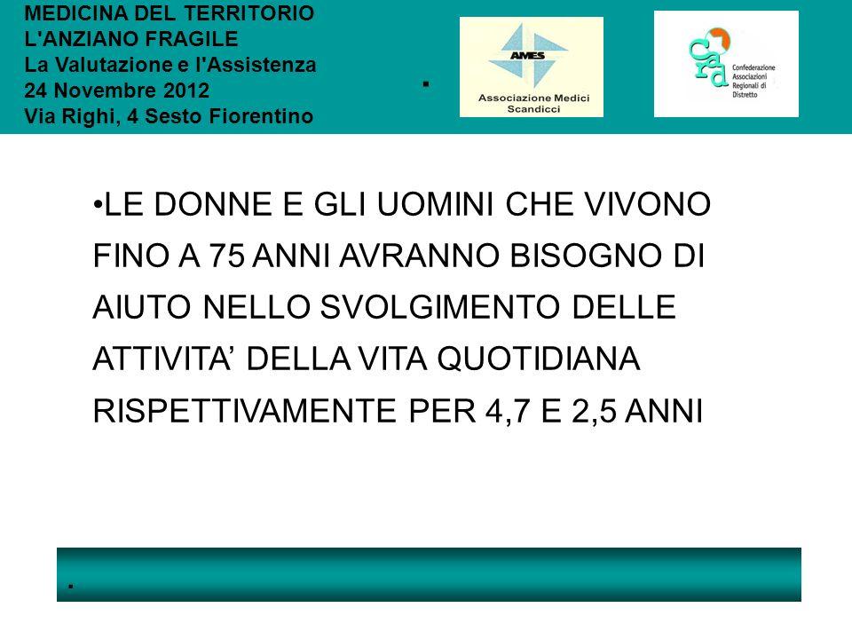 .. MEDICINA DEL TERRITORIO L'ANZIANO FRAGILE La Valutazione e l'Assistenza 24 Novembre 2012 Via Righi, 4 Sesto Fiorentino LE DONNE E GLI UOMINI CHE VI