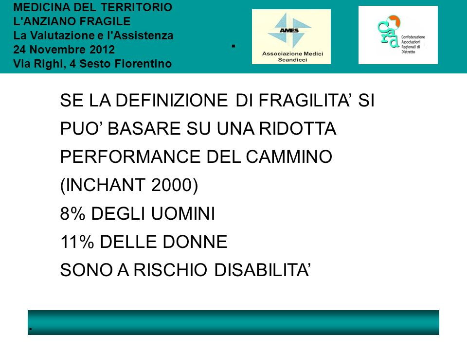 .. MEDICINA DEL TERRITORIO L'ANZIANO FRAGILE La Valutazione e l'Assistenza 24 Novembre 2012 Via Righi, 4 Sesto Fiorentino SE LA DEFINIZIONE DI FRAGILI