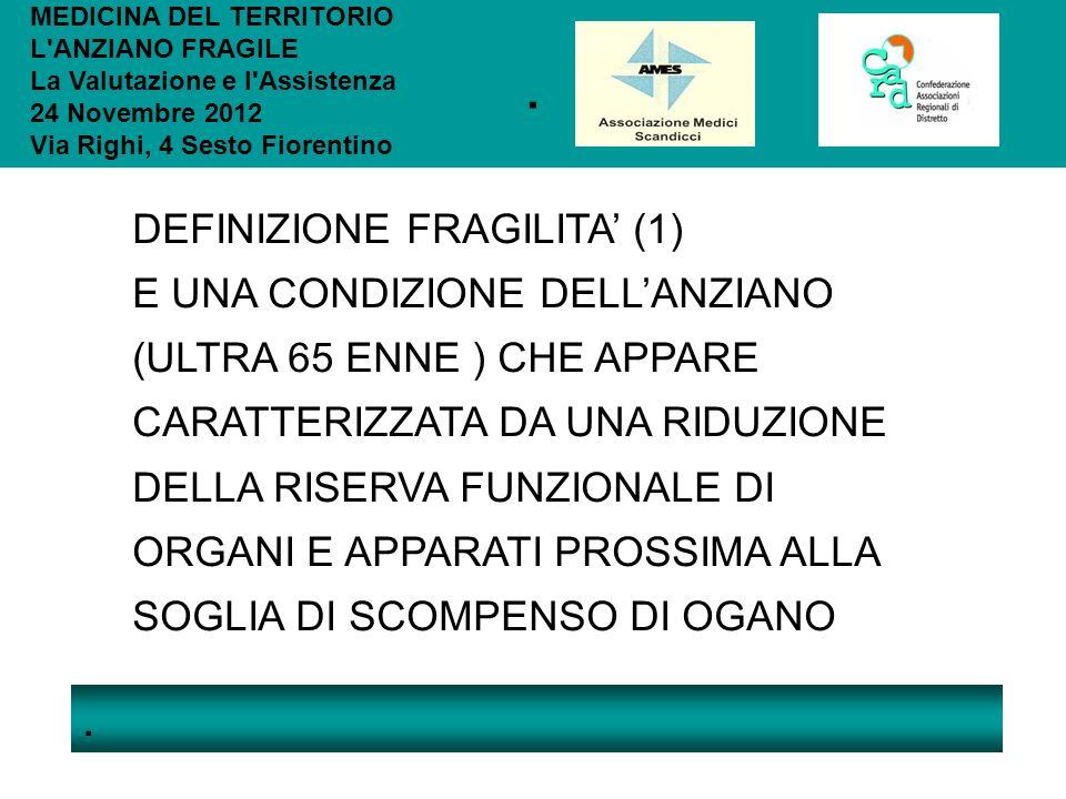 .. MEDICINA DEL TERRITORIO L'ANZIANO FRAGILE La Valutazione e l'Assistenza 24 Novembre 2012 Via Righi, 4 Sesto Fiorentino DEFINIZIONE FRAGILITA (1) E