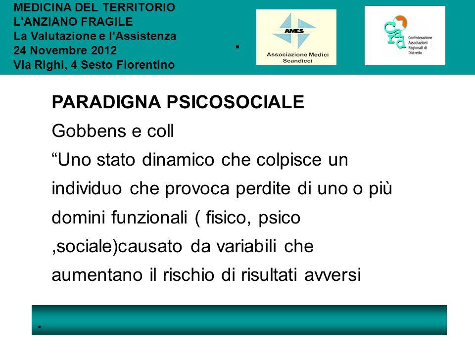 .. MEDICINA DEL TERRITORIO L'ANZIANO FRAGILE La Valutazione e l'Assistenza 24 Novembre 2012 Via Righi, 4 Sesto Fiorentino PARADIGNA PSICOSOCIALE Gobbe
