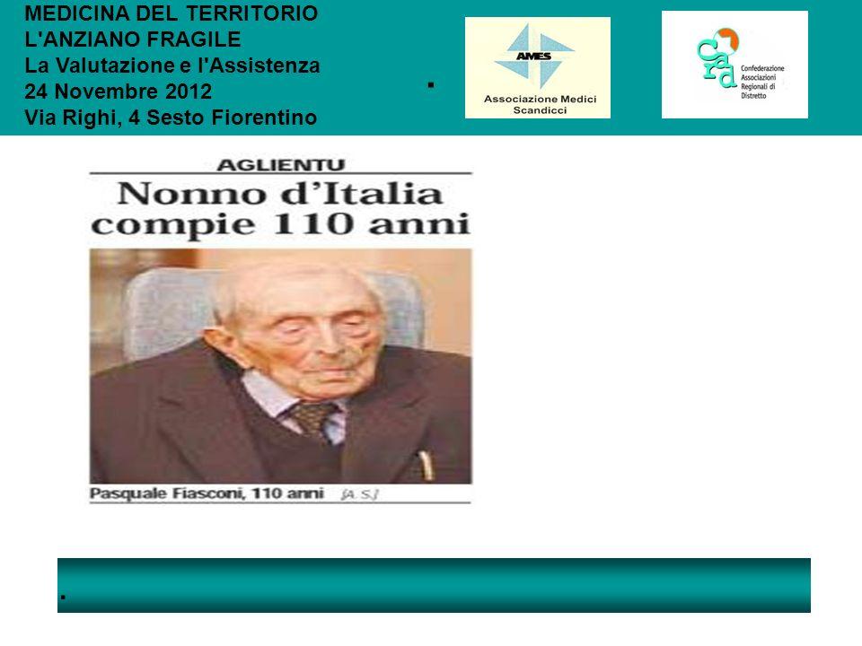 .. MEDICINA DEL TERRITORIO L'ANZIANO FRAGILE La Valutazione e l'Assistenza 24 Novembre 2012 Via Righi, 4 Sesto Fiorentino