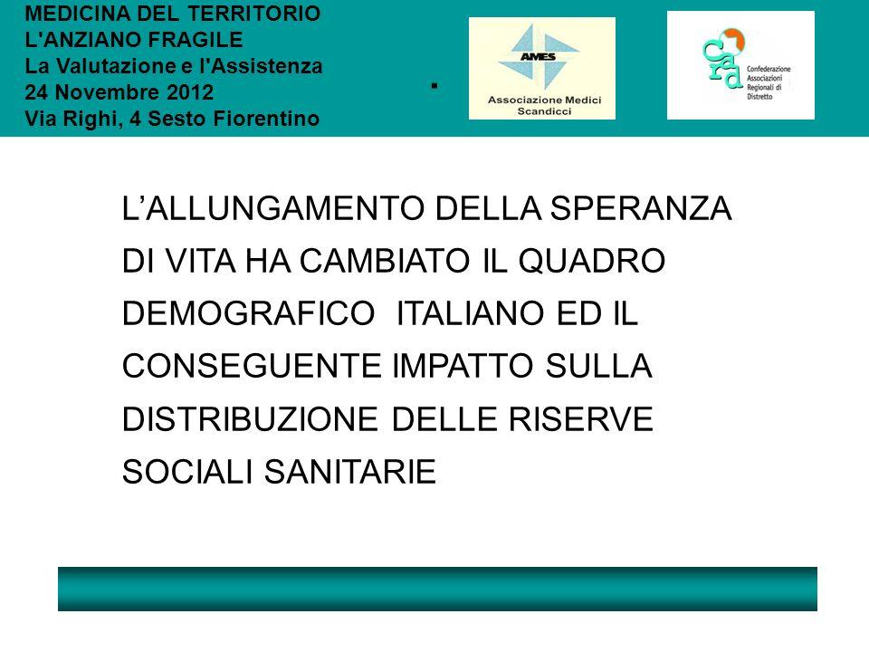 . LALLUNGAMENTO DELLA SPERANZA DI VITA HA CAMBIATO IL QUADRO DEMOGRAFICO ITALIANO ED IL CONSEGUENTE IMPATTO SULLA DISTRIBUZIONE DELLE RISERVE SOCIALI