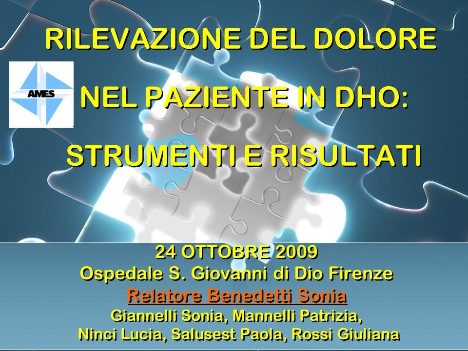 RILEVAZIONE DEL DOLORE NEL PAZIENTE IN DHO: STRUMENTI E RISULTATI 24 OTTOBRE 2009 Ospedale S.
