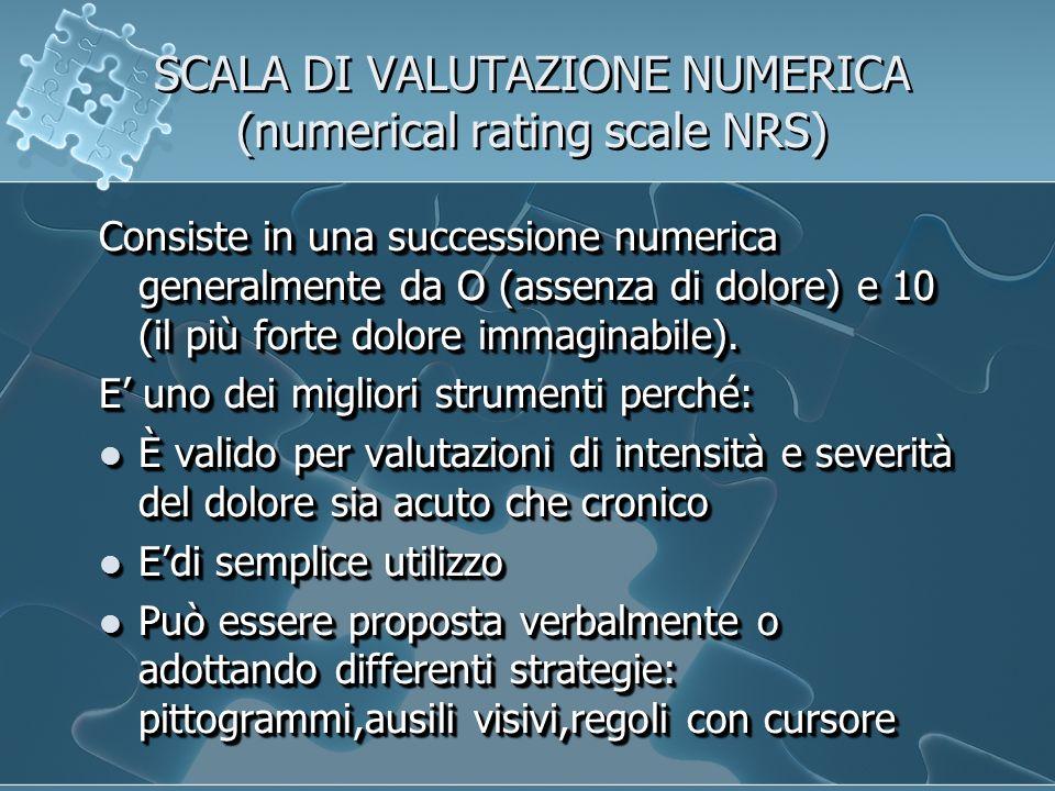 SCALA DI VALUTAZIONE NUMERICA (numerical rating scale NRS) Consiste in una successione numerica generalmente da O (assenza di dolore) e 10 (il più forte dolore immaginabile).