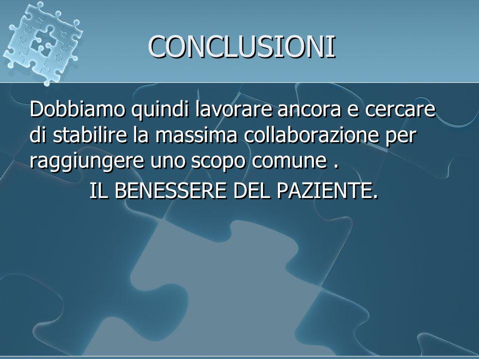 CONCLUSIONI Dobbiamo quindi lavorare ancora e cercare di stabilire la massima collaborazione per raggiungere uno scopo comune.
