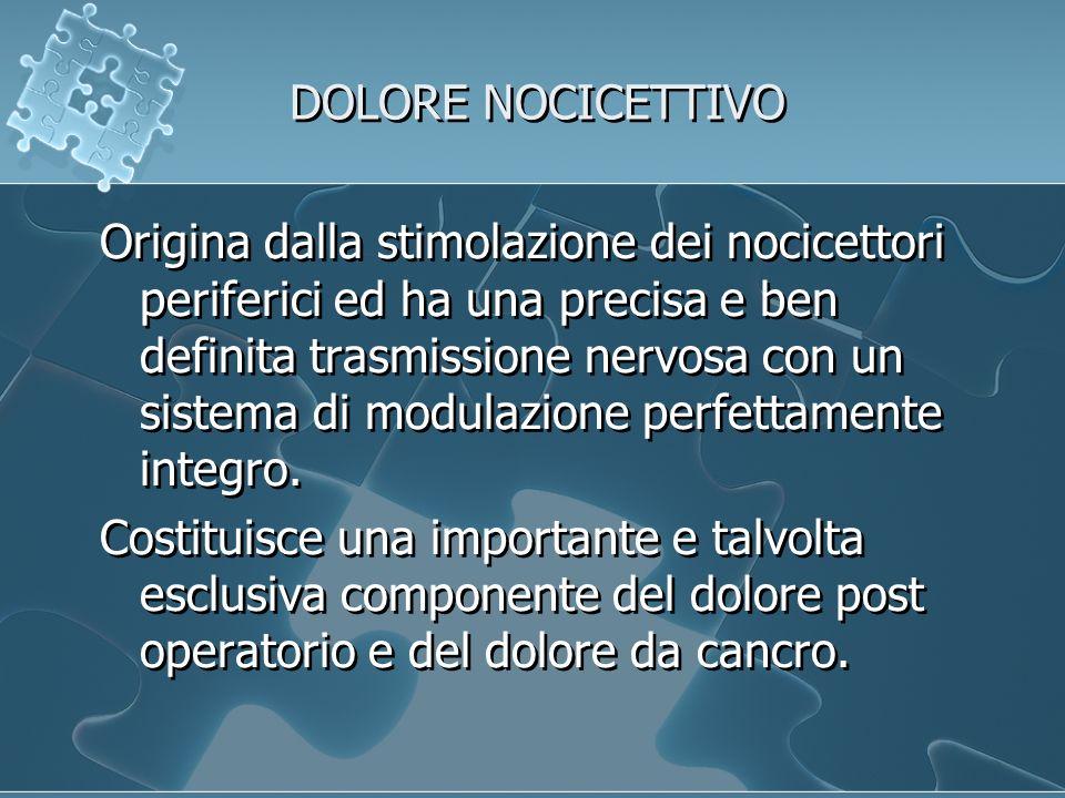 DOLORE NOCICETTIVO Origina dalla stimolazione dei nocicettori periferici ed ha una precisa e ben definita trasmissione nervosa con un sistema di modulazione perfettamente integro.