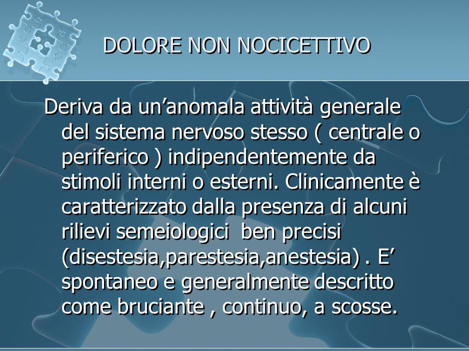 DOLORE NON NOCICETTIVO Deriva da unanomala attività generale del sistema nervoso stesso ( centrale o periferico ) indipendentemente da stimoli interni o esterni.