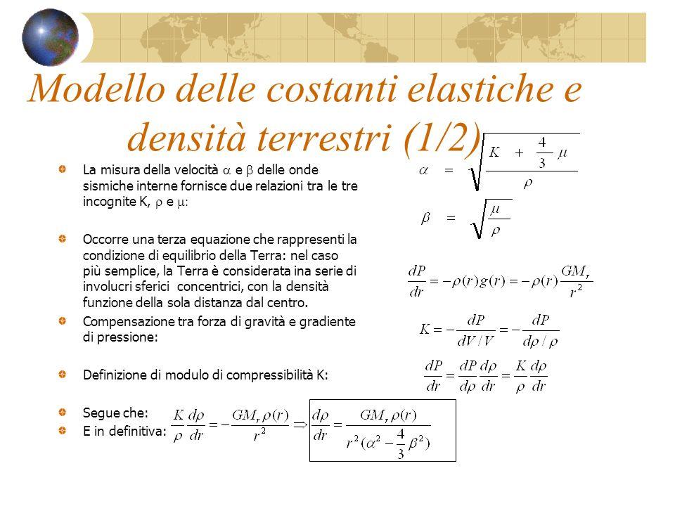 Modello delle costanti elastiche e densità terrestri (1/2) La misura della velocità e delle onde sismiche interne fornisce due relazioni tra le tre in