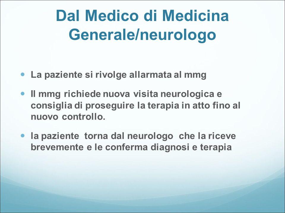 Dal Medico di Medicina Generale/neurologo La paziente si rivolge allarmata al mmg Il mmg richiede nuova visita neurologica e consiglia di proseguire l