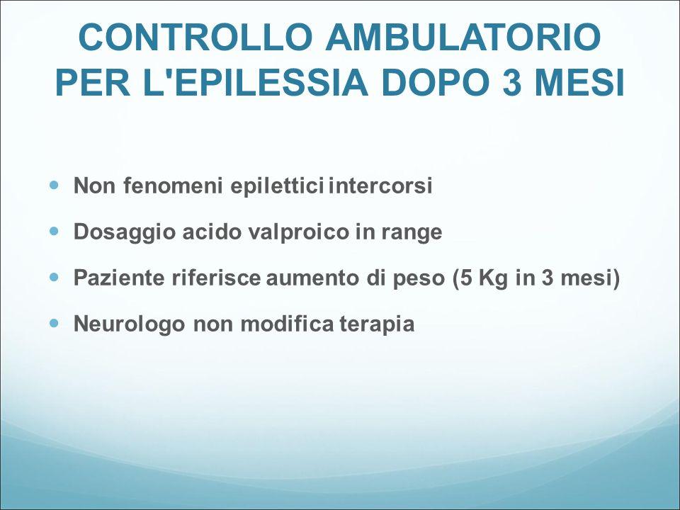 CONTROLLO AMBULATORIO PER L'EPILESSIA DOPO 3 MESI Non fenomeni epilettici intercorsi Dosaggio acido valproico in range Paziente riferisce aumento di p