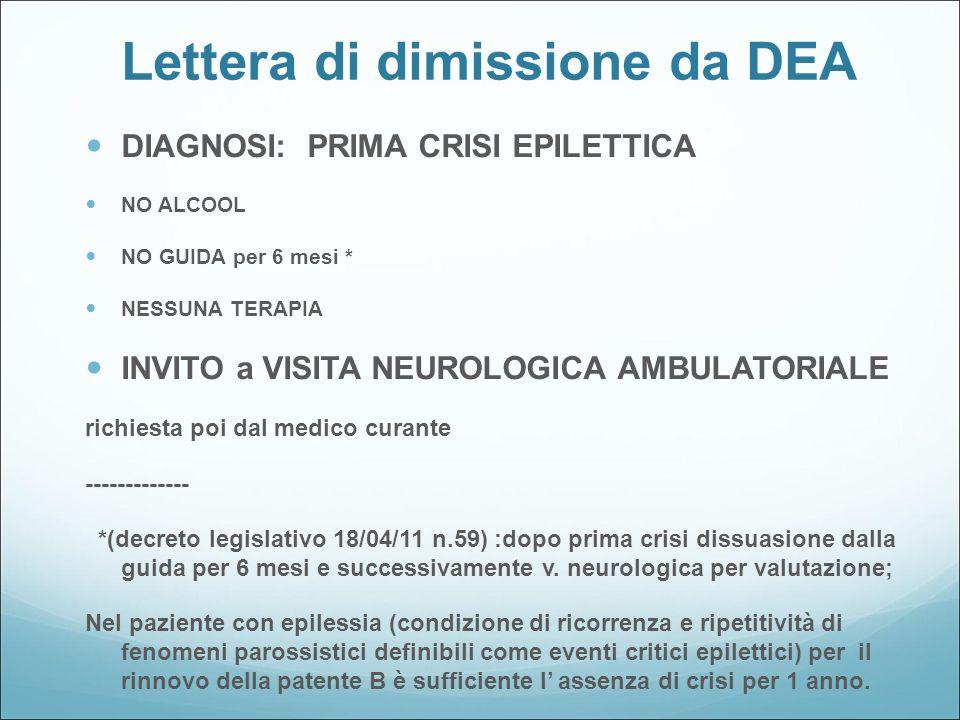 Lettera di dimissione da DEA DIAGNOSI: PRIMA CRISI EPILETTICA NO ALCOOL NO GUIDA per 6 mesi * NESSUNA TERAPIA INVITO a VISITA NEUROLOGICA AMBULATORIAL