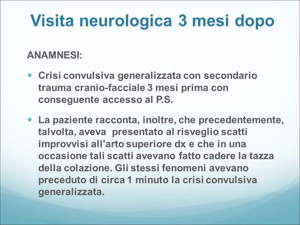 Visita neurologica 3 mesi dopo ESAME OBBIETTIVO GENERALE : nella norma ESAME OBBIETTIVO NEUROLOGICO: normale EEG normale DIAGNOSI: epilessia focale criptogenetica TERAPIA: TEGRETOL fino a 800 mg.