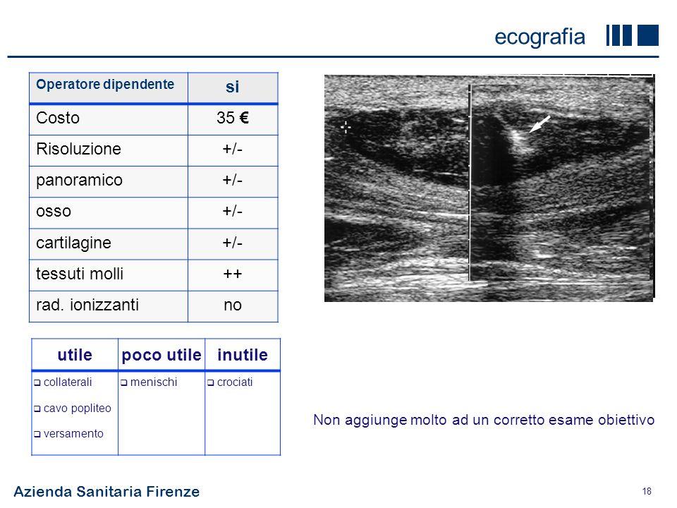 Azienda Sanitaria Firenze 18 Operatore dipendente si Costo35 Risoluzione+/- panoramico+/- osso+/- cartilagine+/- tessuti molli++ rad. ionizzantino eco