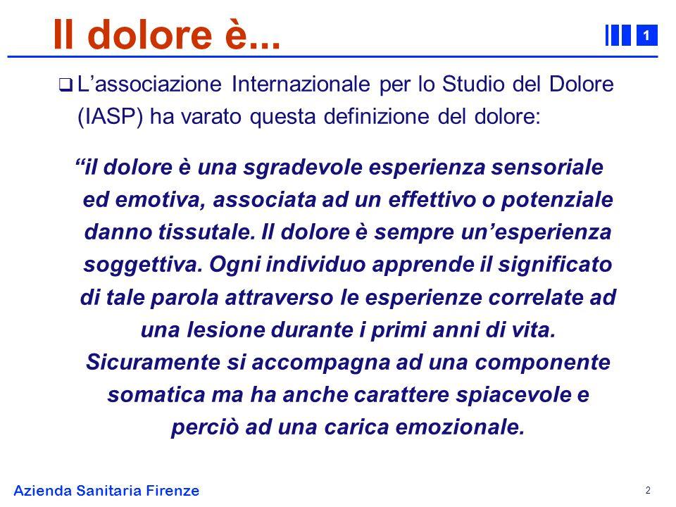 1 Azienda Sanitaria Firenze 13 Classificazione fisiopatologica del dolore neoplastico Cherny N.I., Neurology 1994