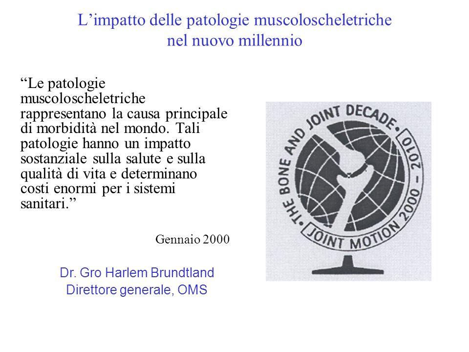 Limpatto delle patologie muscoloscheletriche nel nuovo millennio Le patologie muscoloscheletriche rappresentano la causa principale di morbidità nel m