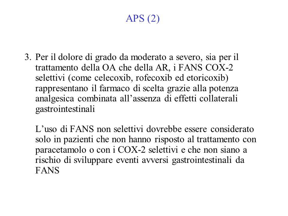 APS (2) 3.Per il dolore di grado da moderato a severo, sia per il trattamento della OA che della AR, i FANS COX-2 selettivi (come celecoxib, rofecoxib