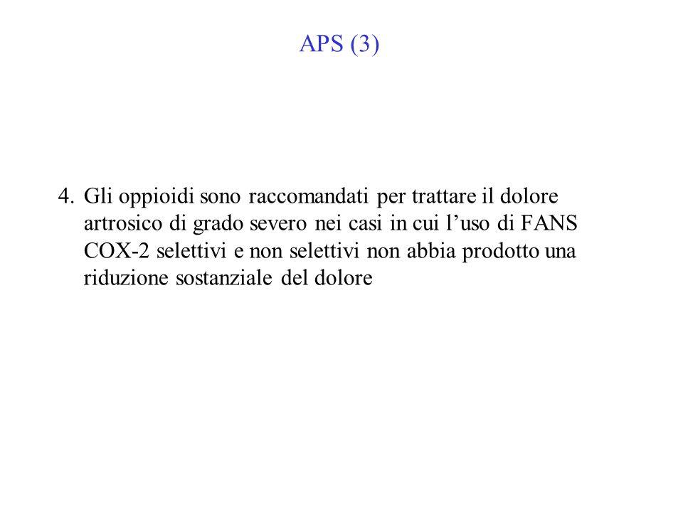 APS (3) 4.Gli oppioidi sono raccomandati per trattare il dolore artrosico di grado severo nei casi in cui luso di FANS COX-2 selettivi e non selettivi