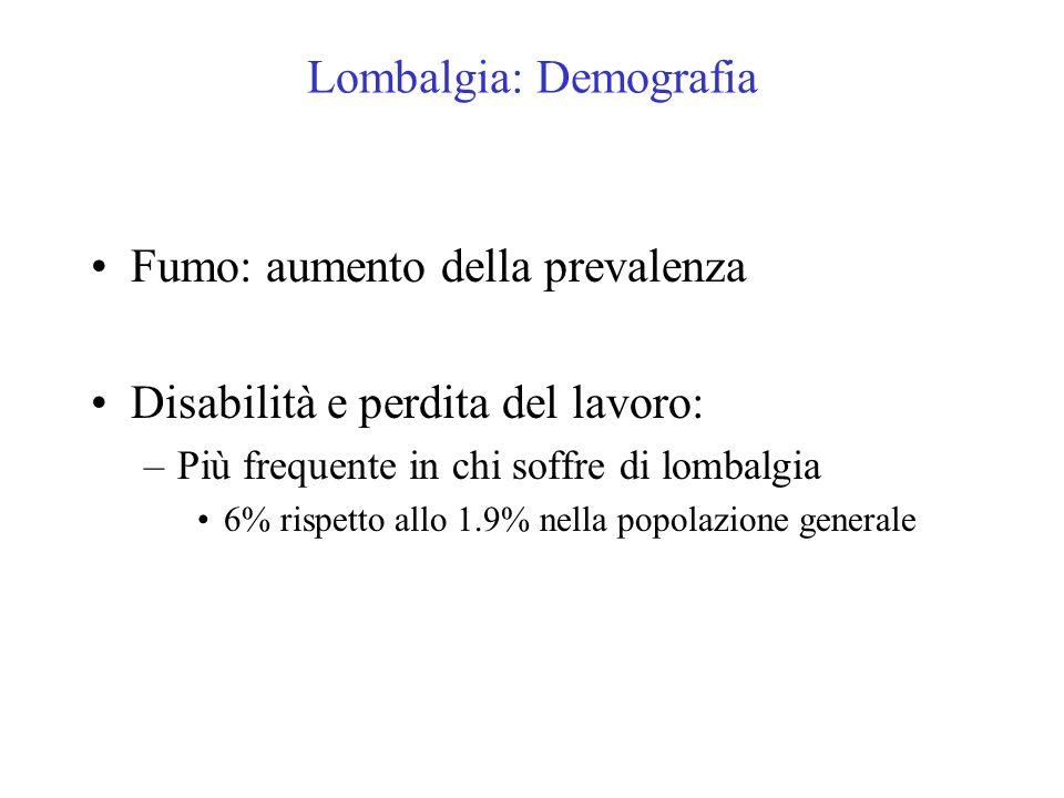 Lombalgia: Demografia Fumo: aumento della prevalenza Disabilità e perdita del lavoro: –Più frequente in chi soffre di lombalgia 6% rispetto allo 1.9%