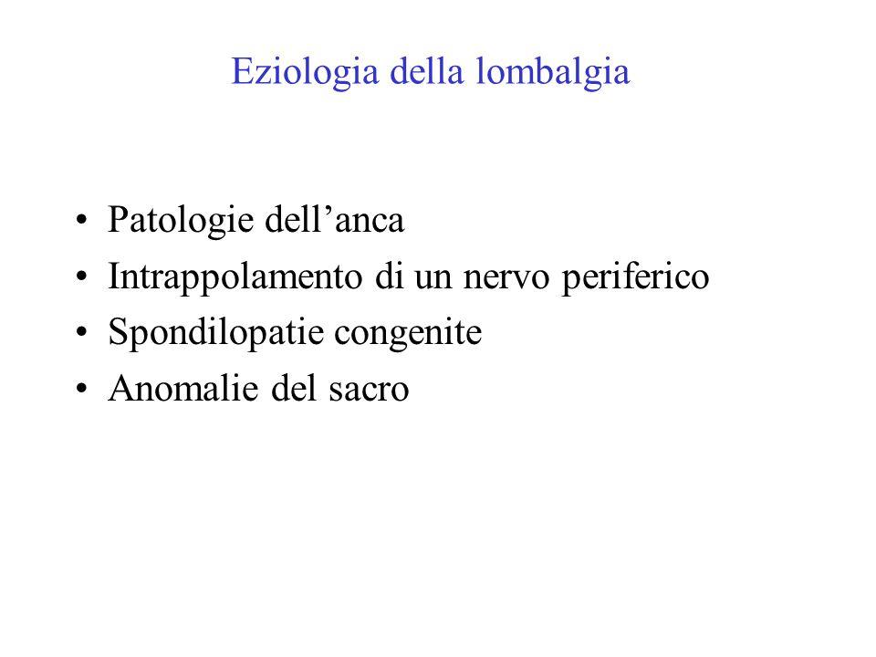 Patologie dellanca Intrappolamento di un nervo periferico Spondilopatie congenite Anomalie del sacro Eziologia della lombalgia