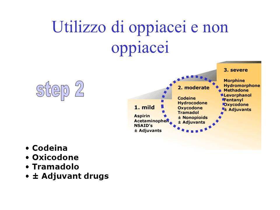 Utilizzo di oppiacei e non oppiacei Codeina Oxicodone Tramadolo ± Adjuvant drugs