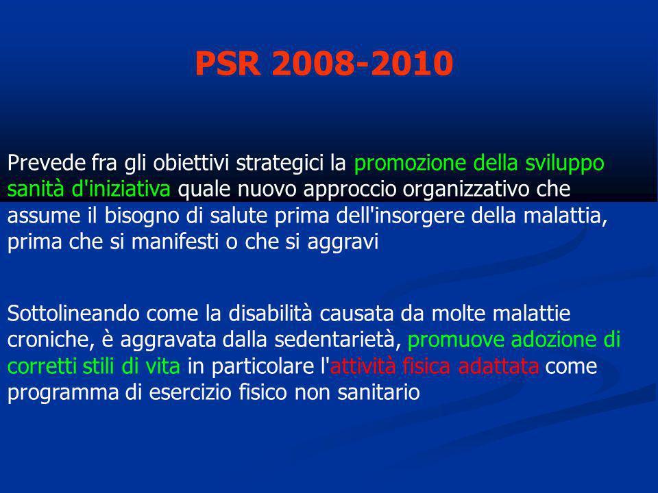PSR 2008-2010 Prevede fra gli obiettivi strategici la promozione della sviluppo sanità d'iniziativa quale nuovo approccio organizzativo che assume il