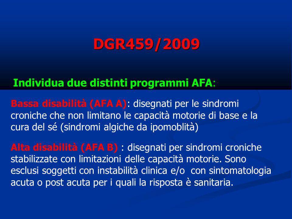 Individua due distinti programmi AFA: Bassa disabilità (AFA A): disegnati per le sindromi croniche che non limitano le capacità motorie di base e la c