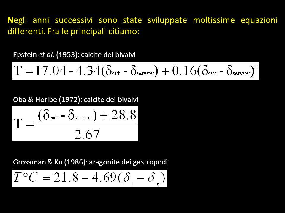 Negli anni successivi sono state sviluppate moltissime equazioni differenti. Fra le principali citiamo: Grossman & Ku (1986): aragonite dei gastropodi