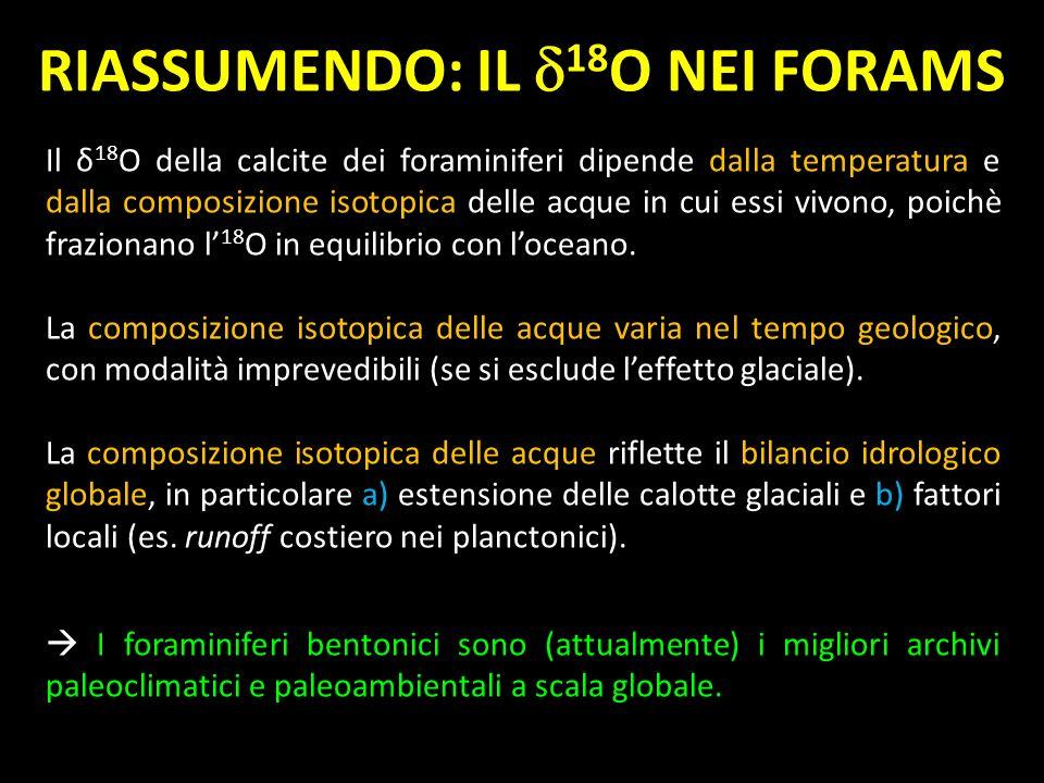 Il δ 18 O della calcite dei foraminiferi dipende dalla temperatura e dalla composizione isotopica delle acque in cui essi vivono, poichè frazionano l