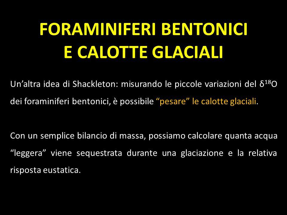 FORAMINIFERI BENTONICI E CALOTTE GLACIALI Unaltra idea di Shackleton: misurando le piccole variazioni del δ 18 O dei foraminiferi bentonici, è possibi