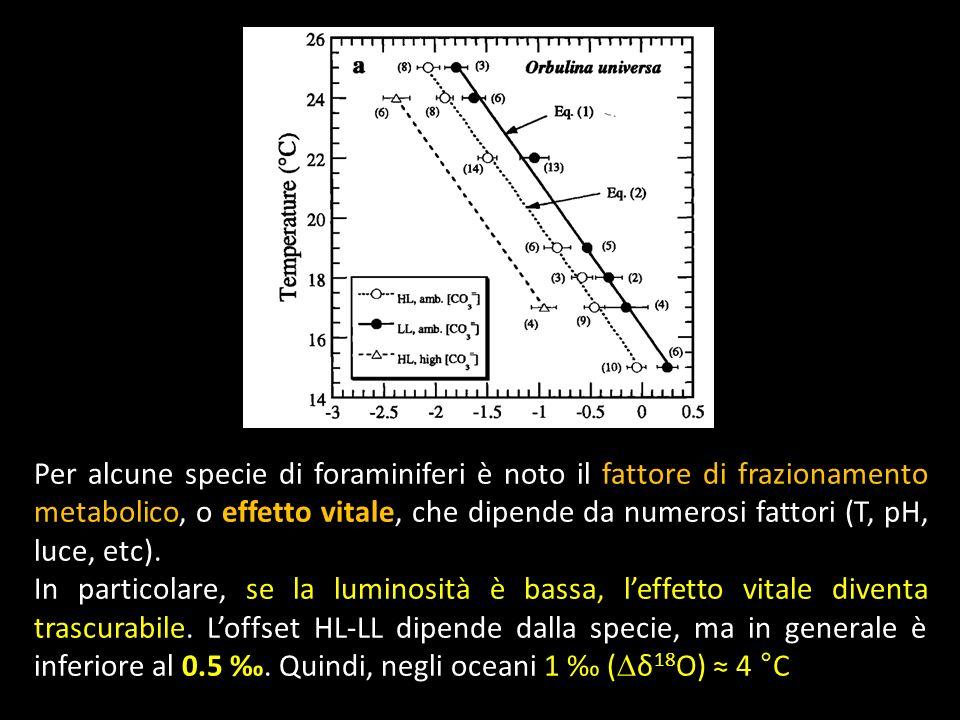 Per alcune specie di foraminiferi è noto il fattore di frazionamento metabolico, o effetto vitale, che dipende da numerosi fattori (T, pH, luce, etc).