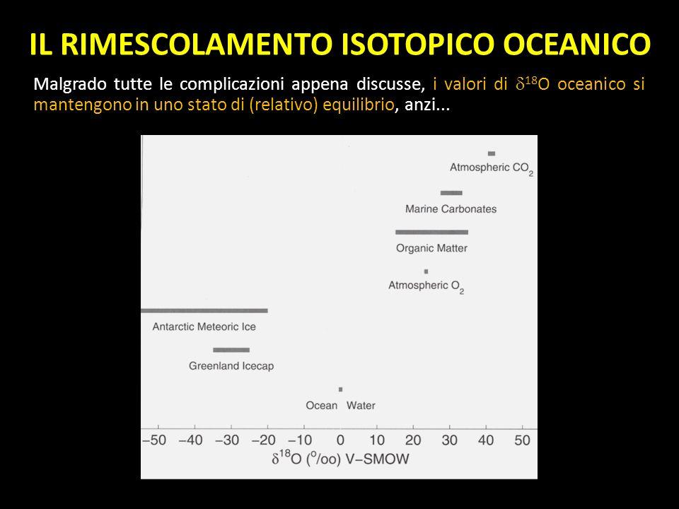 IL RIMESCOLAMENTO ISOTOPICO OCEANICO Malgrado tutte le complicazioni appena discusse, i valori di 18 O oceanico si mantengono in uno stato di (relativ