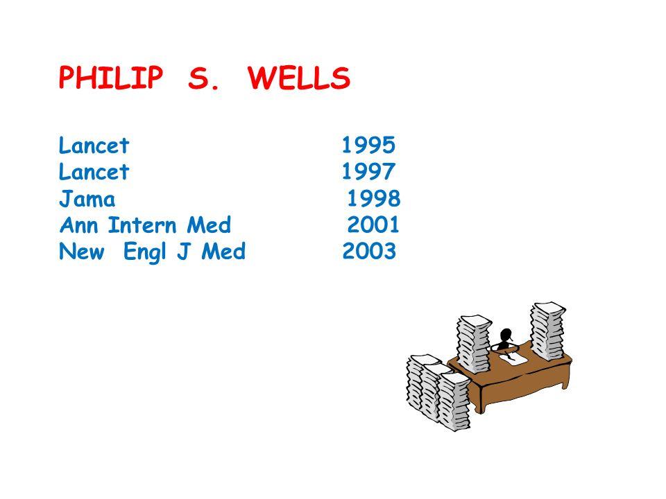 PHILIP S. WELLS Lancet 1995 Lancet 1997 Jama 1998 Ann Intern Med 2001 New Engl J Med 2003