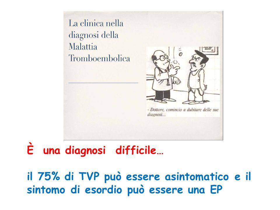 È una diagnosi difficile… il 75% di TVP può essere asintomatico e il sintomo di esordio può essere una EP
