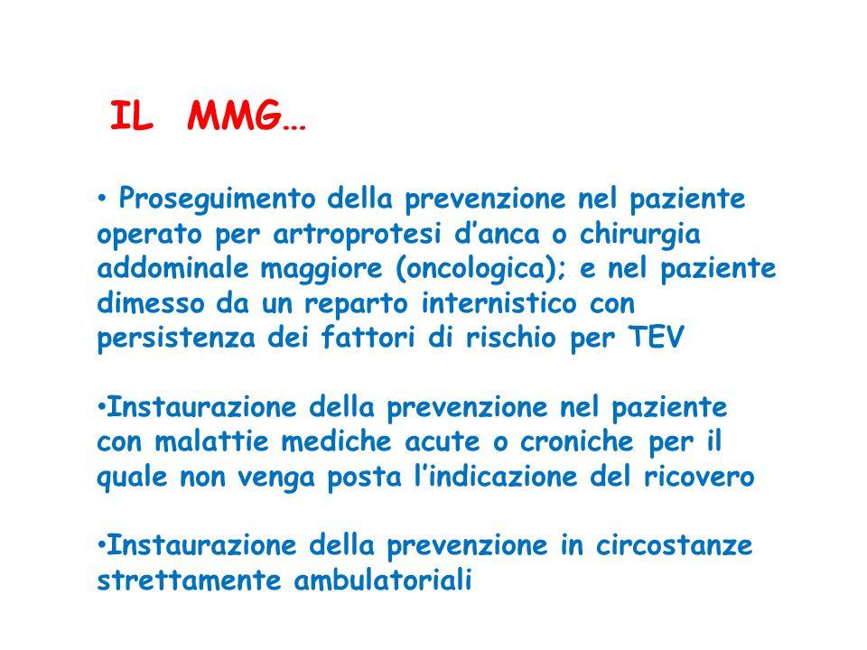 Proseguimento della prevenzione nel paziente operato per artroprotesi danca o chirurgia addominale maggiore (oncologica); e nel paziente dimesso da un