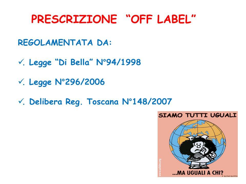 PRESCRIZIONE OFF LABEL REGOLAMENTATA DA:. Legge Di Bella N°94/1998. Legge N°296/2006. Delibera Reg. Toscana N°148/2007