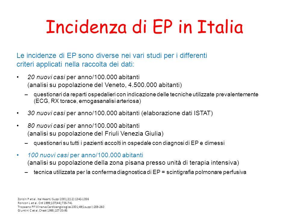Incidenza di EP in Italia Le incidenze di EP sono diverse nei vari studi per i differenti criteri applicati nella raccolta dei dati: 20 nuovi casi per