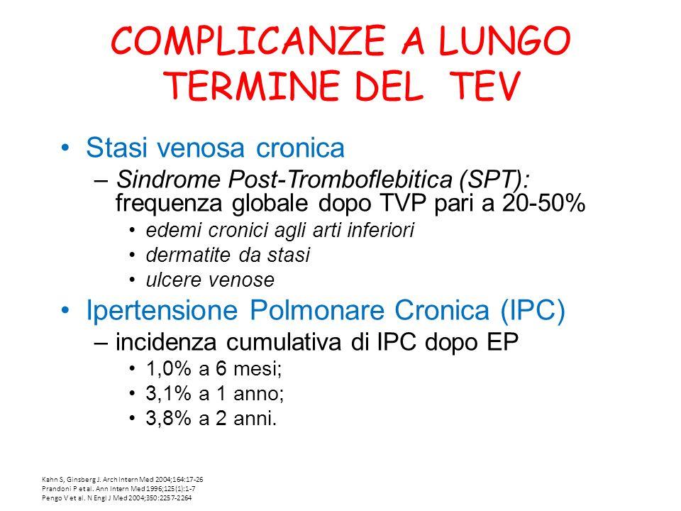 COMPLICANZE A LUNGO TERMINE DEL TEV Stasi venosa cronica –Sindrome Post-Tromboflebitica (SPT): frequenza globale dopo TVP pari a 20-50% edemi cronici