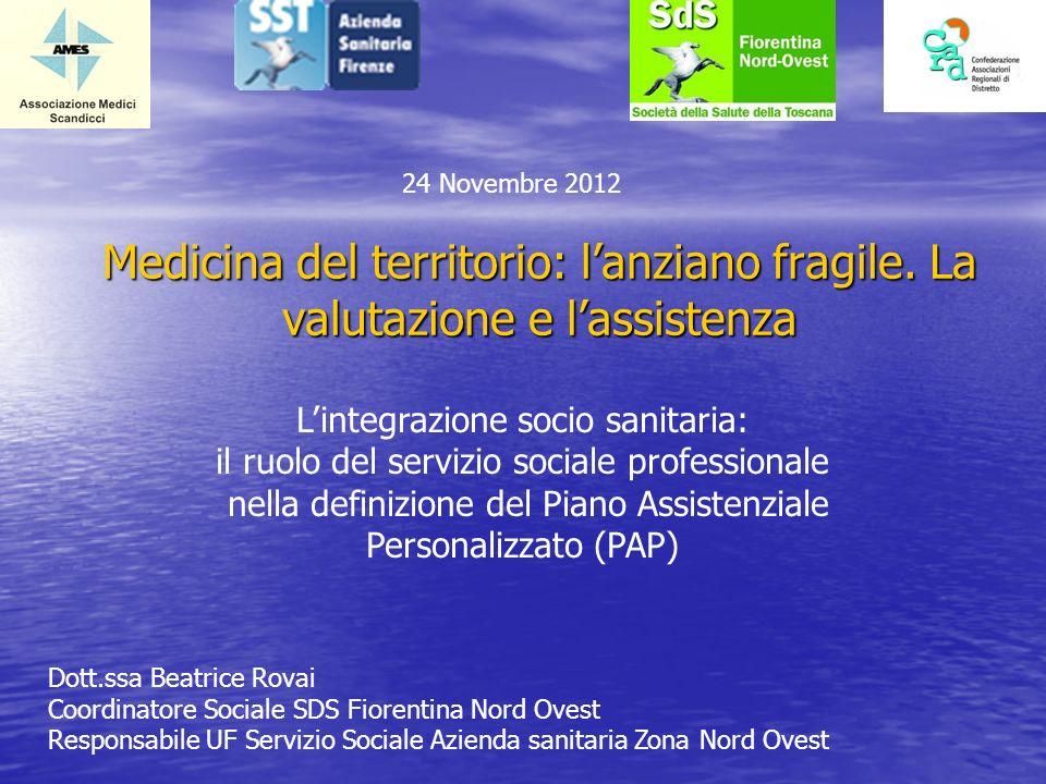 Medicina del territorio: lanziano fragile. La valutazione e lassistenza 24 Novembre 2012 Lintegrazione socio sanitaria: il ruolo del servizio sociale