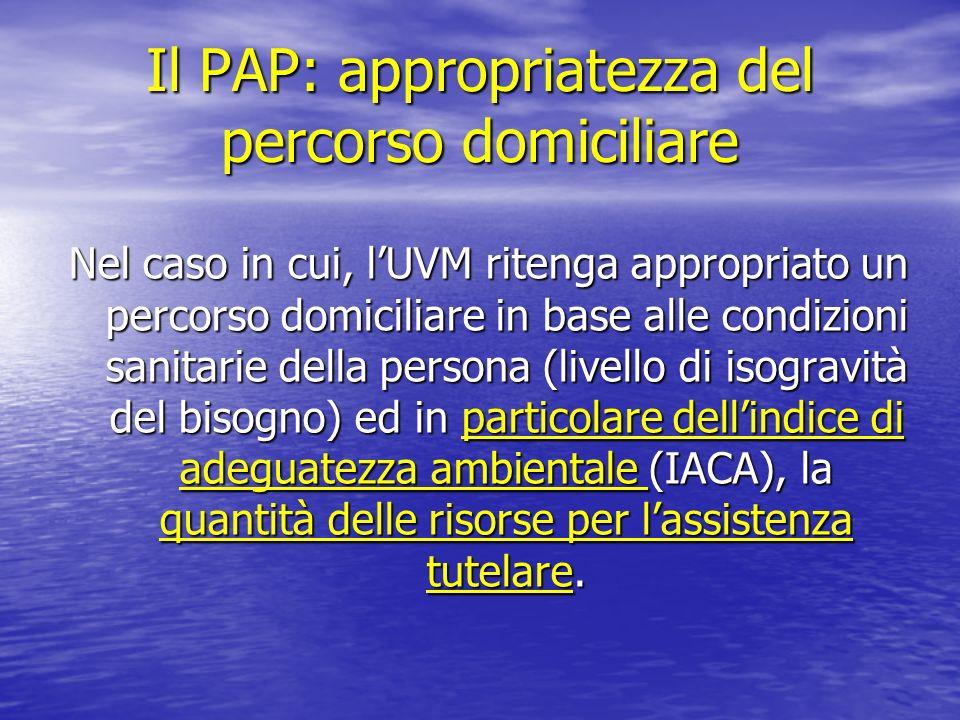 Il PAP: appropriatezza del percorso domiciliare Nel caso in cui, lUVM ritenga appropriato un percorso domiciliare in base alle condizioni sanitarie de