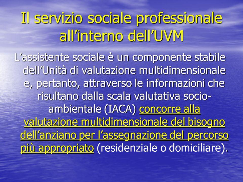 Il servizio sociale professionale allinterno dellUVM Lassistente sociale è un componente stabile dellUnità di valutazione multidimensionale e, pertant