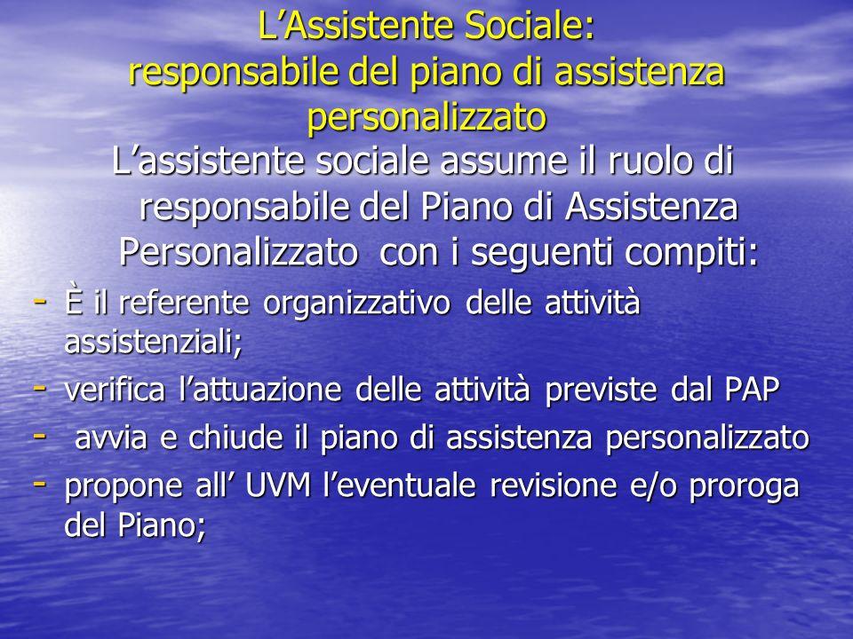 LAssistente Sociale: responsabile del piano di assistenza personalizzato Lassistente sociale assume il ruolo di responsabile del Piano di Assistenza P
