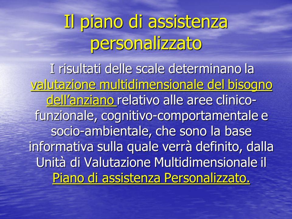 Il piano di assistenza personalizzato I risultati delle scale determinano la valutazione multidimensionale del bisogno dellanziano relativo alle aree